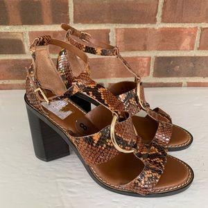 Franco Sarto Dandelion snake chunky heel sandals